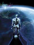 The Mighty Thor No1: Silver Surfer Flying in Space  Looking at the Planet