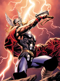 Thor: Wolves of The North No1 Cover: Thor Standing with Mjonir in Lightning