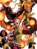 New Mutants No41 Cover: Blink  Moonstar  Magma  and Warlock