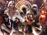 New Mutants No25 Cover: Psylocke  Karma  Legion  Cypher  Moonstar  Magma  Cannonball and Others