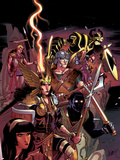 New Mutants No29 Cover: Karma  Moonstar  Sunspot  Cannonball  Magik  Warlock  and Cypher