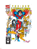 New Mutants No100 Cover: Warpath  Feral  Domino  Shatterstar and New Mutants