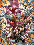 X-Campus No4 Cover: Wolverine  Rogue  Colossus  and Nightcrawler Charging