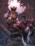Wolverine Weapon X No16 Cover: Nightcrawler and Wolverine Crouching in a Tree at Night
