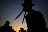 An Ultra-Orthodox Jewish Man Takes Part in the Tashlich Ritual in Ashdod Ahead of Yom Kippur