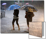 Pedestrians Holding Umbrellas Walk across a Flooded Road in Beijing