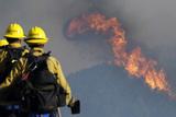 Angeles National Forest Firefighters Make their Way into a Brush Fire