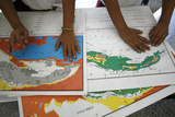 Visually Impaired Boys Touch Cuban Maps in Braille at Abel Santamaria School in Havana