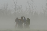 Villagers Cover Themselves from Sandstorm Near India-Nepal Border in Pilibhit