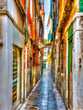 Narrow Stone Made Street at Venice Italy HDR Processed