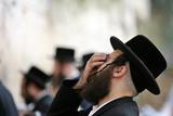 Jewish Man Prays at Western Wall in Jerusalem