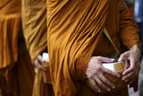 Monks Carry Bowls to Collect Food and Money for the Poor in Magelang