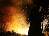 A Labourer Works at a Ferronickel Smelting Furnace in a Fenimak Factory Near Kavadarci