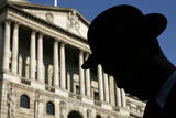 Actor in Bowler Hat Silhouetted in Front of the Bank of England During Television Programme Filming