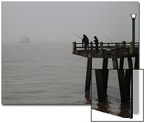 Men Fish in the Fog-Covered Rio De La Plata River in Buenos Aires