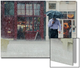 A Man Runs Through a Heavy Downpour in Central London