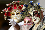 People Gather in Venice Wearing Masks and Historical Clothes