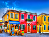Colorful Houses in a Raw at Burano Island near Venice Italy HDR