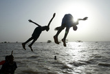 Sudanese Children Dive in River Nile in Khartoum
