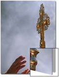East Orthodox Christian Pilgrims Try to Touch a Crucifix