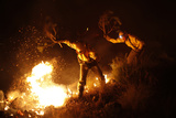 Firefighters Try to Extinguish a Fire with Branches in a Forest at Barranco Blanco in Coin