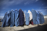 Afghan Widows Clad in Burqas During a Cash for Work Project by Humanitarian Organisation  Kabul