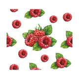 Watercolor Drawing of Forest Raspberry Seamless Pattern