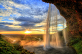 Seljalandfoss Waterfall at Sunset in Hdr  Iceland