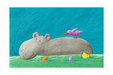 Funny Hippo, Bird and Fishes Reproduction d'art par Andreapetrlik