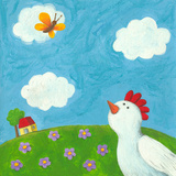Funny Hen and Butterfly
