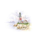 Watercolor Lighthouse Drawing of a Sea Landscape
