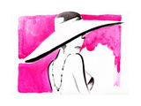 Woman Portrait with Hat Abstract Watercolor