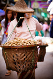 Woman Carrying Peanut Baskets - Golden Triangle  Thailand