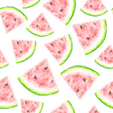 Watercolor Drawing of a Slice of a Watermelon Seamless Pattern