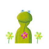 Funny Frog in the Flowers