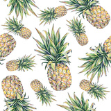 Pineapple on a White Background Seamless Pattern