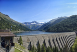 Landscape Mountains Lake Dam in Italy Trentino Dolomites Alps