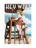 Key West  Florida - Lifeguard Pinup Girl