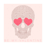 Vector Funny  Candy  Brown Skull with Heart Eyes  Diamonds  Brilliants Love and Valentine's Day