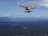 A Cessna Plane Flies over Backcountry Air Lanes Near the Alaska Range