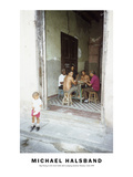 Boy Peeing in the Street While Dad Is Playing Dominos Havana  Cuba 1999