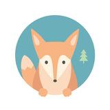 Animal Set Portrait in Flat Graphics - Fox