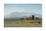 Surveyor's Wagon in the Rockies  C1859 (Oil on Paper Mounted on Masonite)