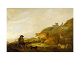 Seated Shepherd with Cows and Sheep in a Meadow  1644 (Oil on Oak Panel)