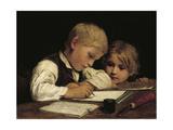 A Boy Writing; Schreibender Knabe Mit Schwesterchen  1875