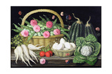 Eggs  Broad Beans and Roses in Basket  1995