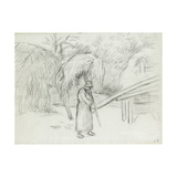 Study of a Female Peasant Carrying a Load of Hay in the Farmyard at Foucault  C 1875