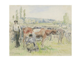 Compositional Study of a Milking Scene at Eragny-Sur-Epte  1884 (Watercolour over Black Chalk)