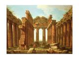 Figures Admiring the Temple of Neptune at Paestum