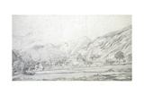 View of Buildings in a Walled Enclosure with Mountains in the Background (Graphite on White Wove Pa